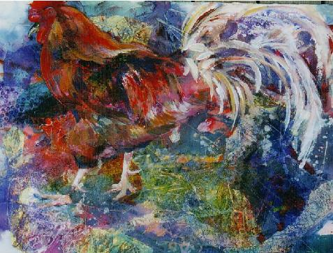 Donnah cameron Mixed media Rooster $1000.00 Sold