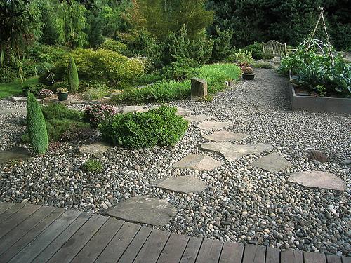 garden design gravel wood