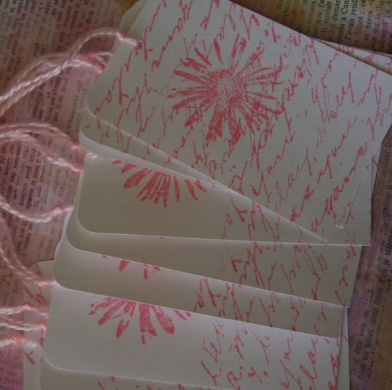 Stamped Tags Pink Flower1
